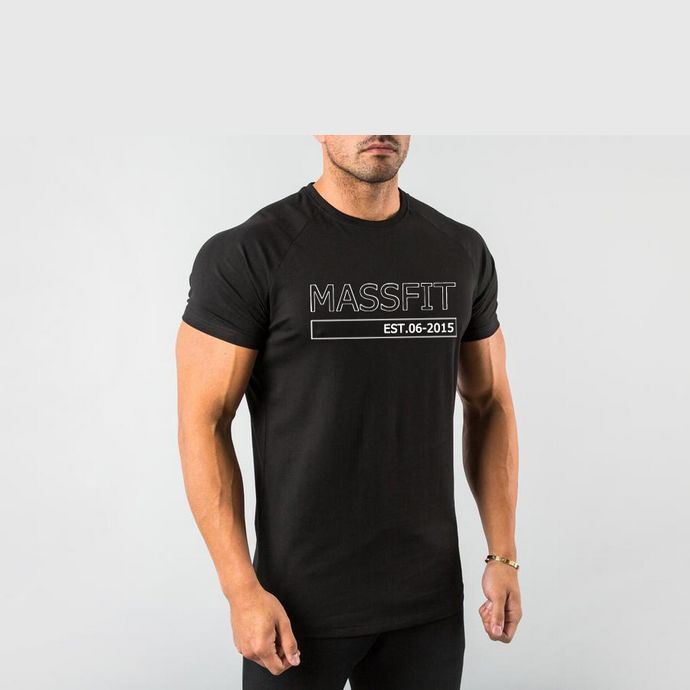 Workout Fitness Soft Cotton Men Running T Shirts Slim Fit Performance Black Curved Hem TShirts