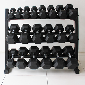 Two Tier Heavy Duty Steel Dumbbell Rack Loaded With Sets of Rubber Hex Dumbbells