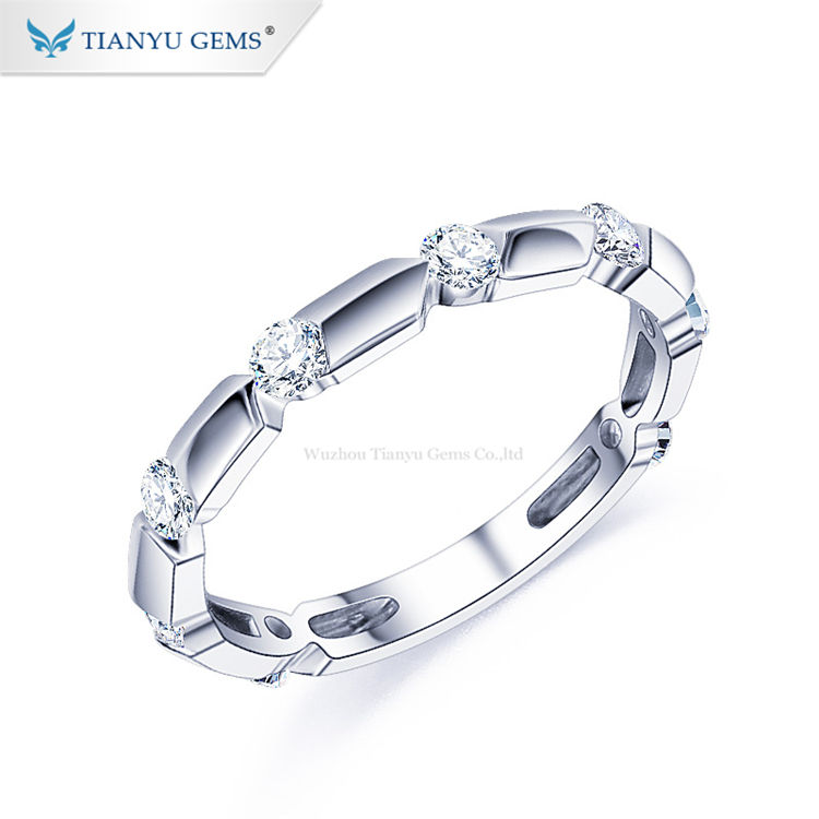 Tianyu gems gold ring bamboo section modelling simple design moissanite and white gold ring band