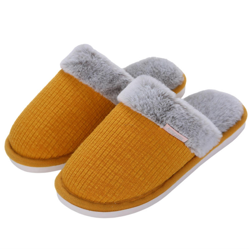 Winter Plush Cotton Elegant Indoor slippers for Women and Men Fashion New Design Home Flat Slippers for Ladies Customized Cheap