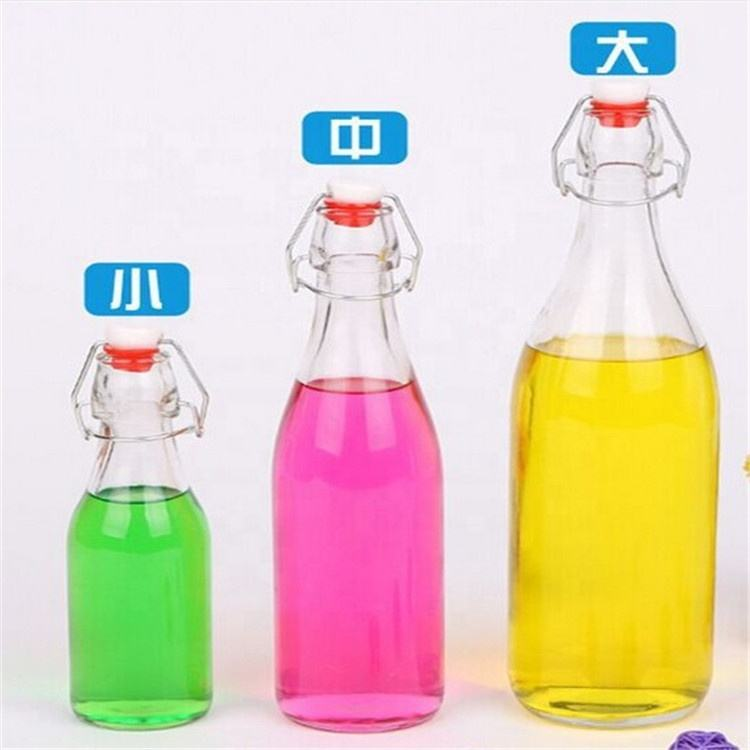 250ml/500ml/750ml/1000ml glass juice bottle milk bottle with swing top and ceramic lid