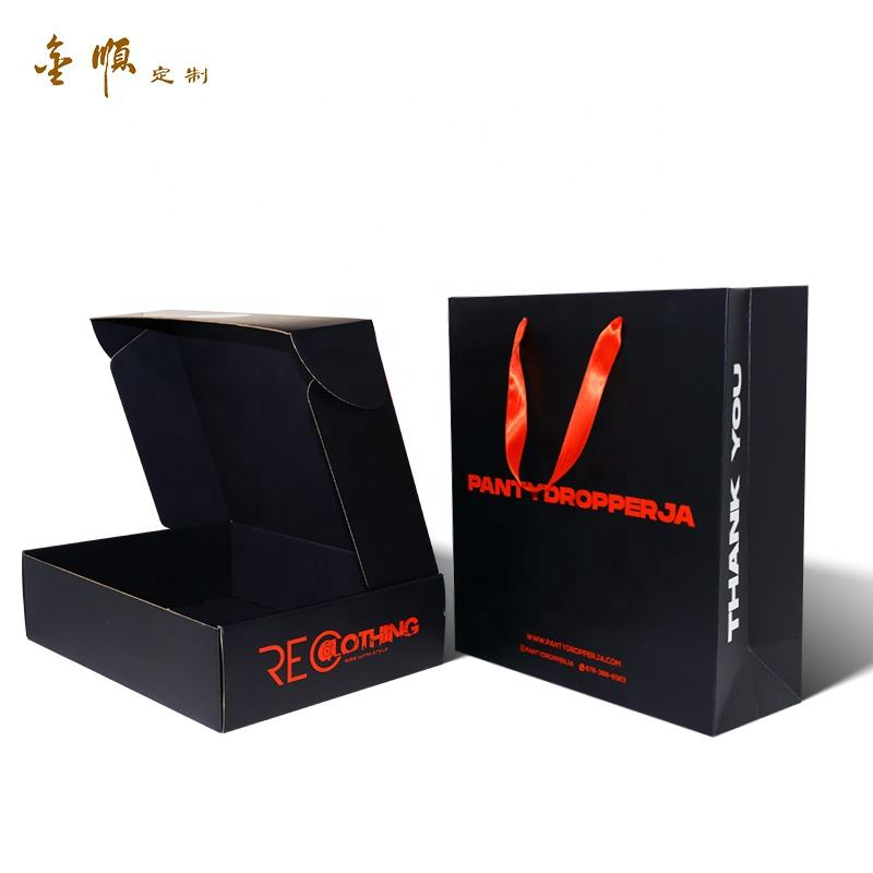 Black Corrugated Foldable Boxes Tray Printing Package with LOGO Spot UV Flap Lock Boxes With Full Printing Outside