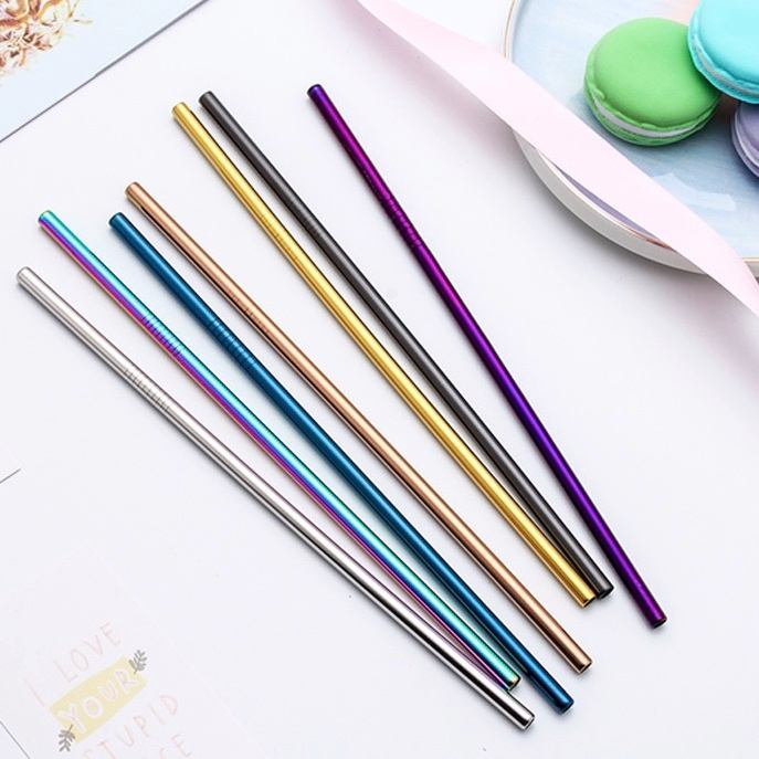 6*267mm Bent Straight Drinking Straws Stainless Steel Straw