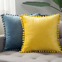 Wholesale cover cushion 18X18 Pillows home decor Accept Custom Velvet throw pillow with cute pompom