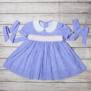RTS Girls Vintage Hand Made Smocked Dress Children Classic Smocking Frocks Kids Boutique Clothing
