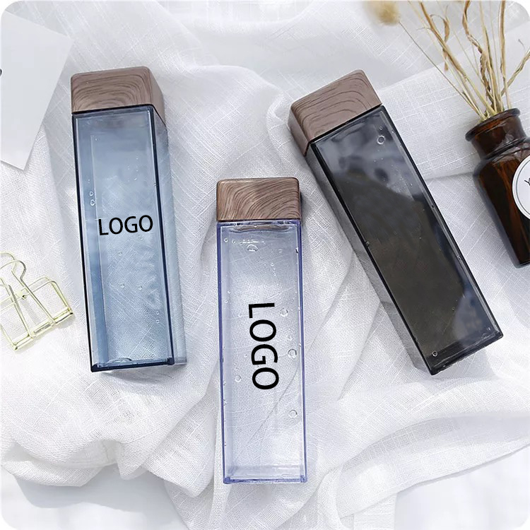 Wholesale Unique Promotion Gift Custom Logo Plastic Square Reusable Water Bottle with Wooden Bamboo Lid