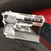 Crystal 3d Model Glass  Pistol Glass Gun Model With full Size Base for Souvenir Gift