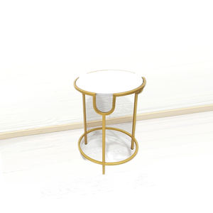 Modern Round Gold Marble Top Afternoon Tea 2 Set Side Table Nest For Living Room
