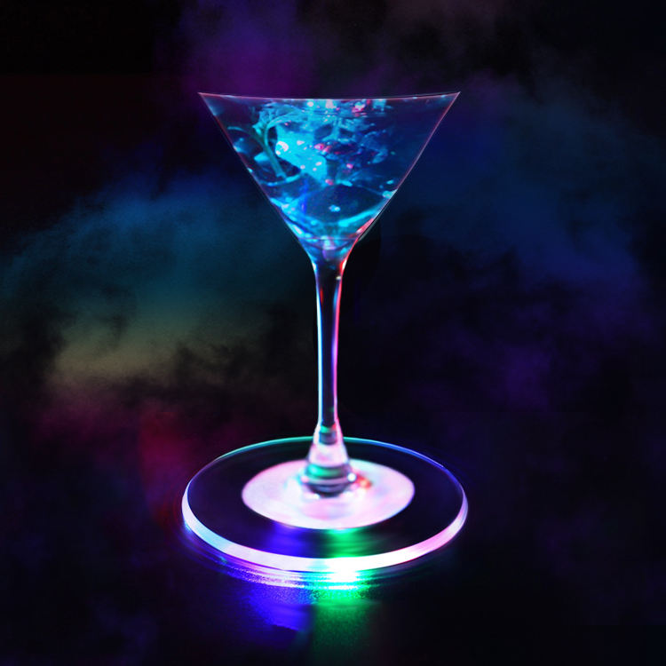 Acryl Flash LED Lichtgevende Fles Cup Mat Bier Cocktail Bar Disco Party Gear Glas Coaster Bar wijnglas Lichtgevende Mat