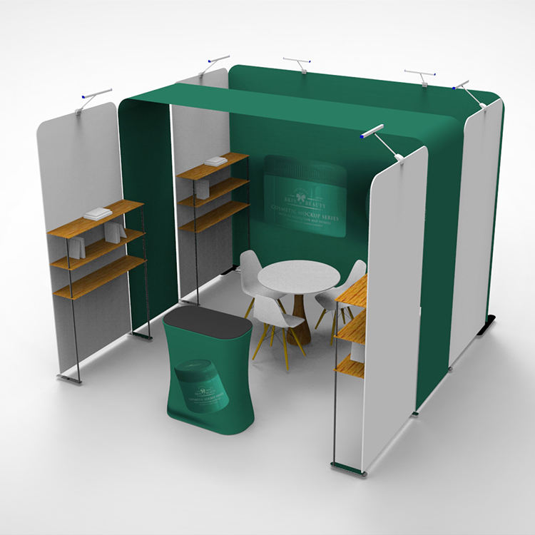 New design reusable 3x3 double printed exhibition booth with shelves for trade show