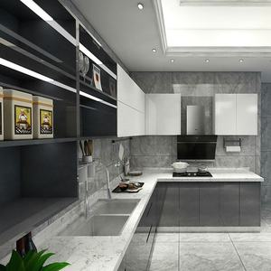 High Gloss Kitchen Cabinet Modern Grey Base Cabinet and White Wall Cabinet