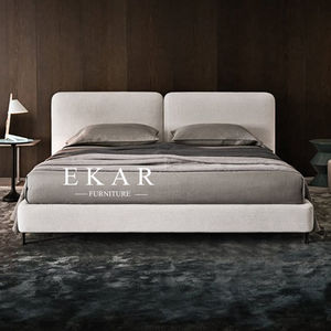 Contemporary Fashion Design Fabric Queen King Size Wood Upholstered Bed