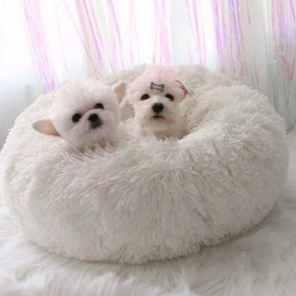 Dropshipping round plush dog beds luxury pet bed for dog Pet nest cat deep sleep plush round kennel