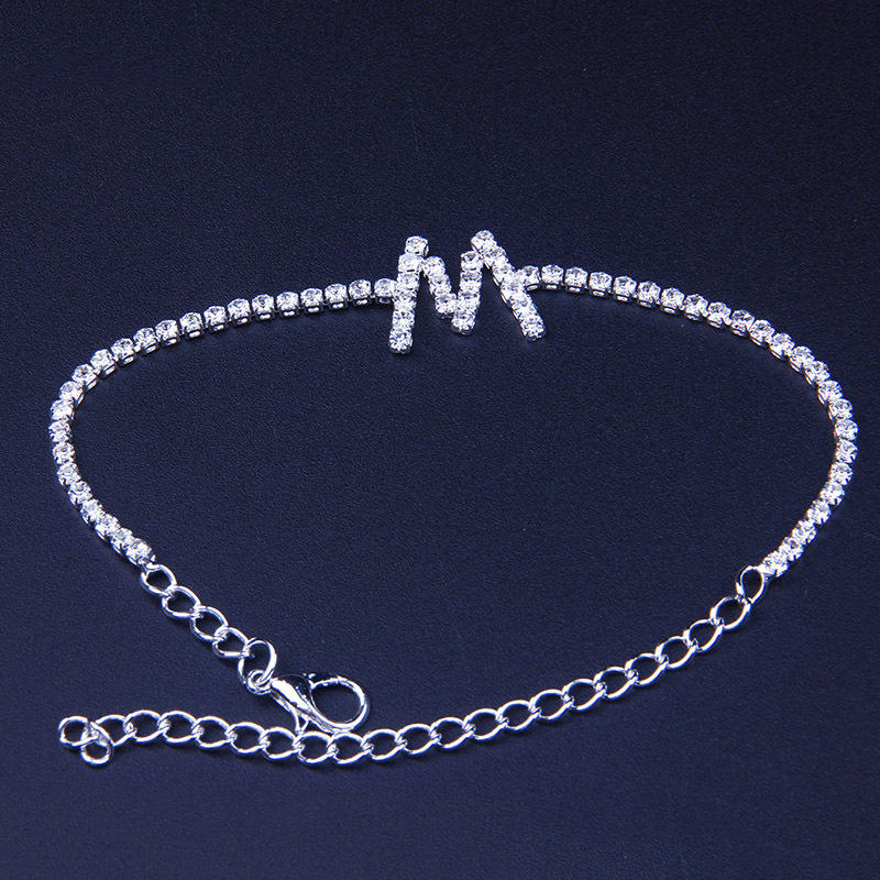 2020 HIP HOP 26 Crystal Initial Letter Ankle Bracelet for Women anklets Foot jewelry