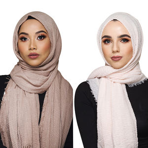2019 Top Selling wholesale Solid color soft Cotton shawl scarf Muslim Women Crinkle Hijab