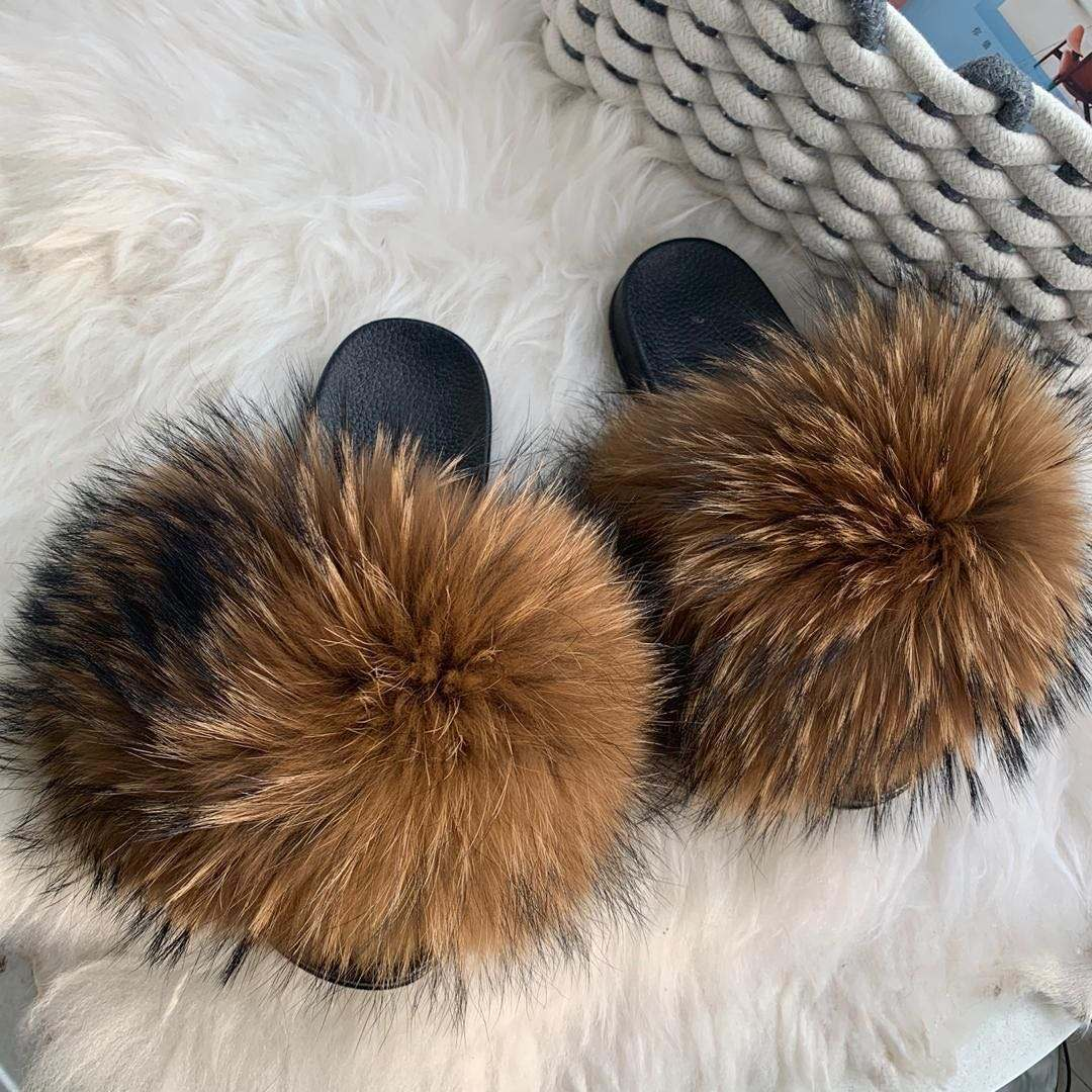 Factory Sell Custom Fluffy Indoor Outdoor Wholesale Fur Slides