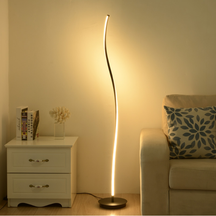 Nodic black white minimalist modern simple metal curve living room LED stand floor lamp