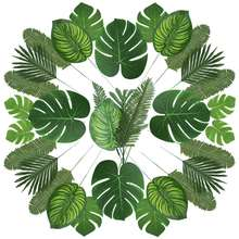 90 Pcs 6 Kinds Artificial Palm Leaves Hawaiian Party Decorations Tropical Plant Faux Leaves with Stem for Tropical Party Decor