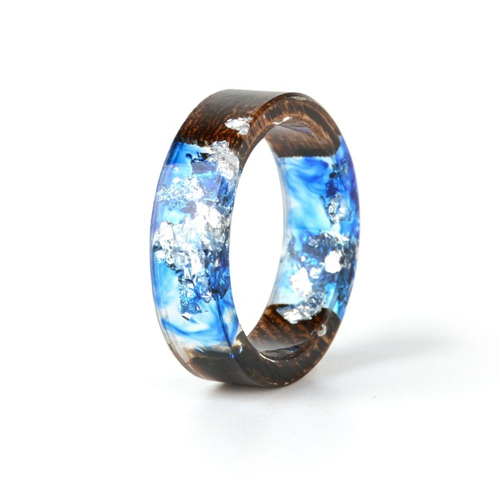 2020 Hot Sale Handmade Wood Dried Flowers Plants Inside Jewelry Resin Transparent Anniversary Ring for Women