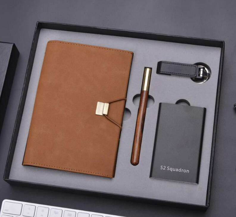 Custom VIP Office Corporate Business Notebook Gift Set with Power Bank