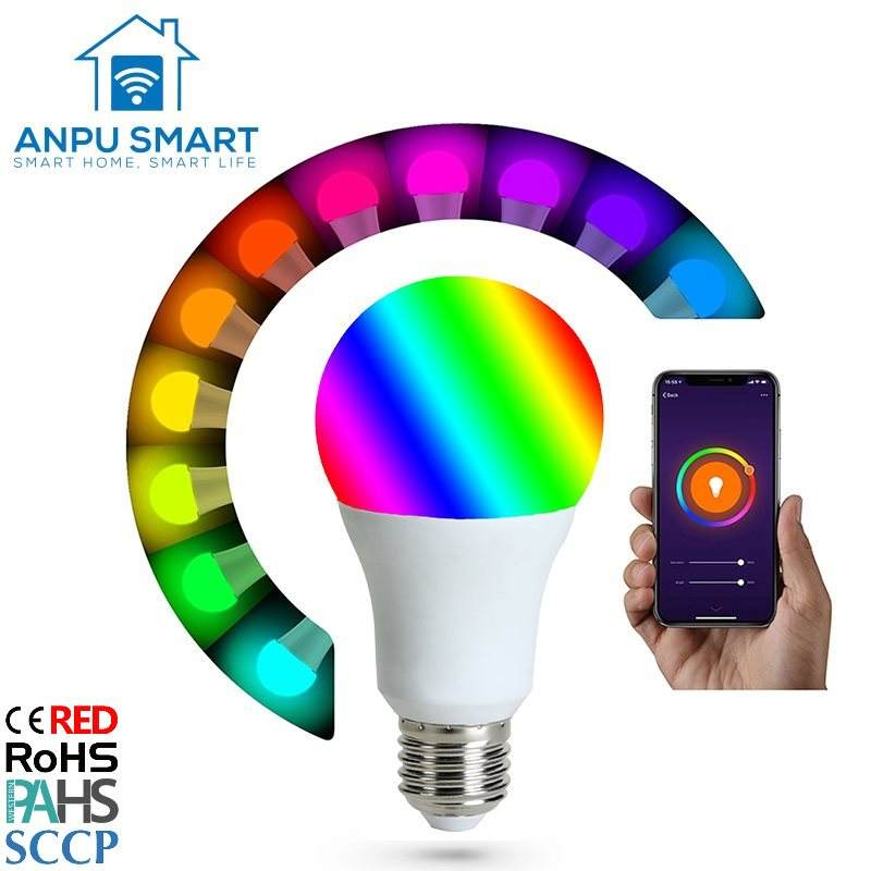 ANPU Lampadas Led E27 Smart Bulbs Amazon Alexa Wifi LED Light Bulbs RGB Multi Color CE-RED ROHS2.0 passed with CE ROHS