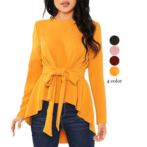 Wholesale High Quality Autumn Fashion Bow-Knot Lacing-Up Design Women Crew Neck Long Sleeve Lady Blouse