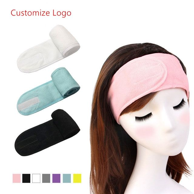 Custom Logo Spa Facial Headband Stretch Towel Washable Facial Band Yoga Makeup Wrap Headbands