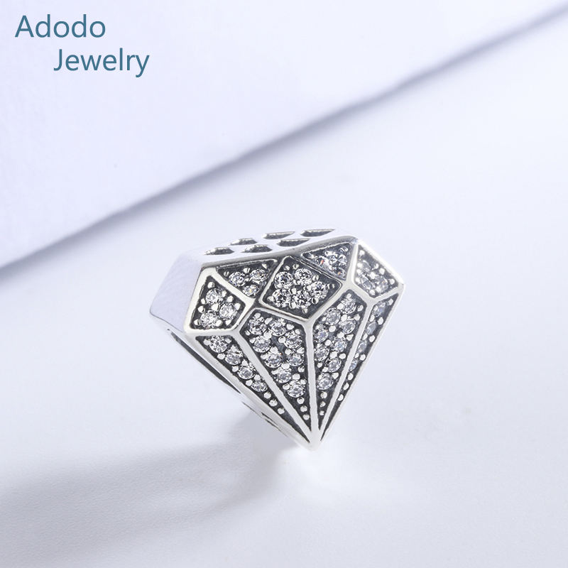 925 Sterling Silver White White Natural Zircon Diamond Shape Custom Charm