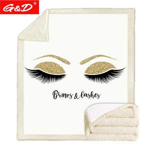 G&D Lovely Eyelash Blanket Sherpa Fleece Girls Plush Blanket Fashion White Gold Couch Microfiber manta