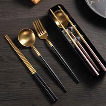 luxurious 18/10 stainless steel Portable cutlery wedding gifts Metal chopsticks fork and spoon cutlery sets with gift box