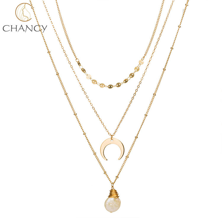 Chancy fashion new 18K gold plated multi three layer natural peal necklace for women or girls jewelry
