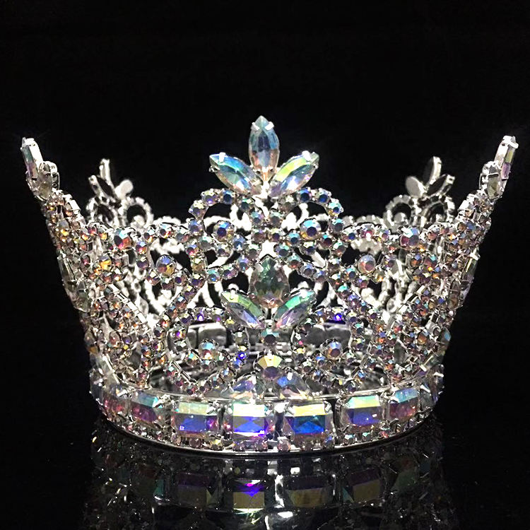 Beauty AB Crystal Pageant Queen Crowns, Pink Jewelry Tiara Wedding Round Crown
