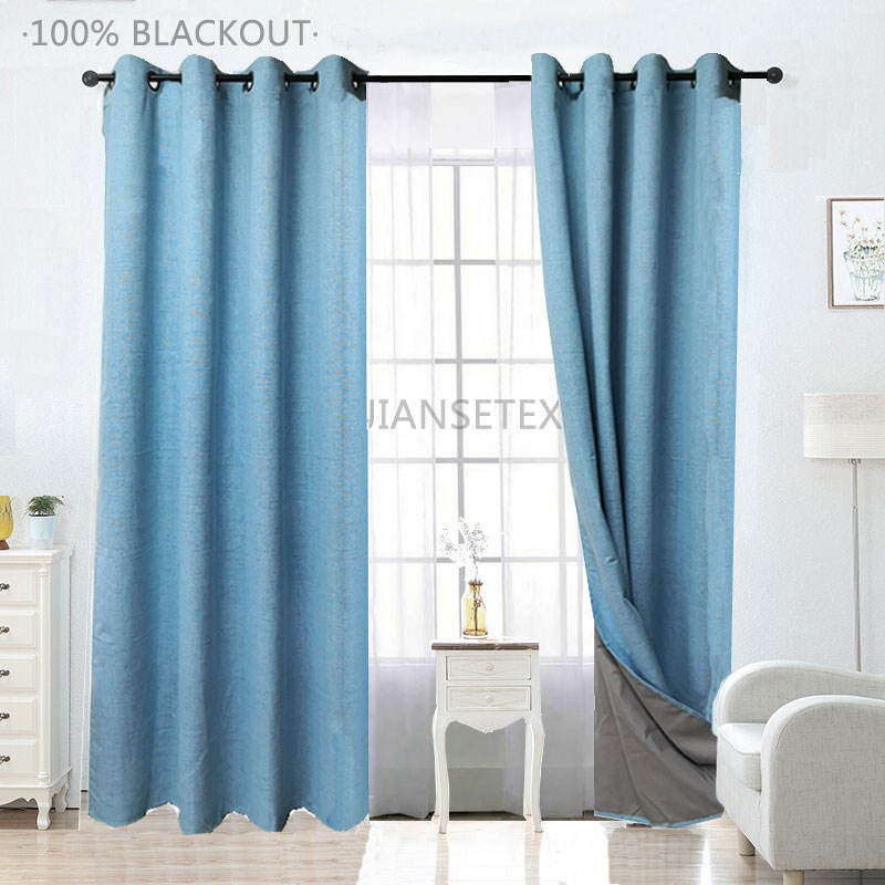 2.4.2 New Arrival Blackout Curtain Multi Colors Linen Curtains Yarn Dyed Coating Curtains For Living Room