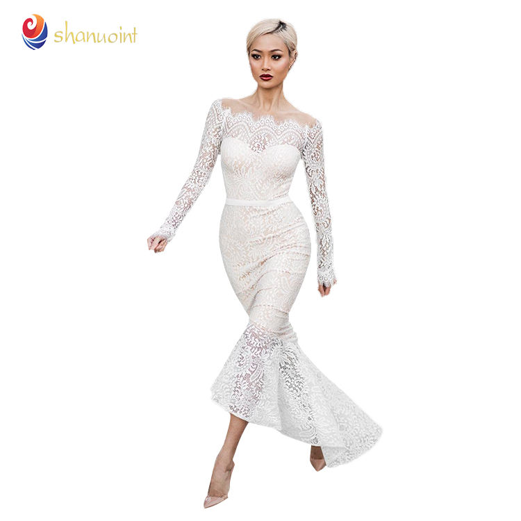 Wholesale price white lace dress sexy fishtail skirt for wedding