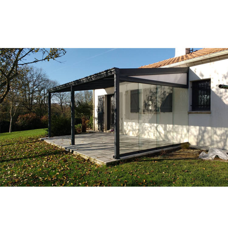 Aluminium Framed Conservatory Awning Terrace Canopy with Glass Sliding Door System for Winter Garden Kit