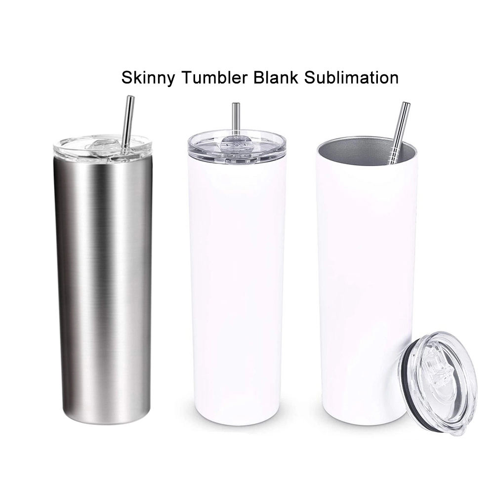White Blank Sublimation 20OZ Skinny Stainless Steel Tumbler Wine Double Wall Blanks Straight Tumblers 20 OZ With Metal Straws