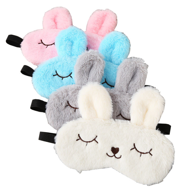 Cute Rabbit Animal Shape Sleep Mask Soft Plush Blindfold Eye Mask for Girls