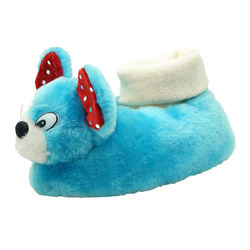 Cute blue mouse kids shoes winter baby indoor slippers