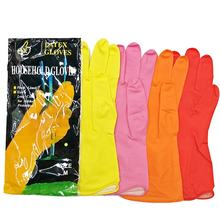 Kitchen Dish Silicon Reusable Waterproof Flocked Lined Latex Rubber Household Gloves For Washing Cleaning