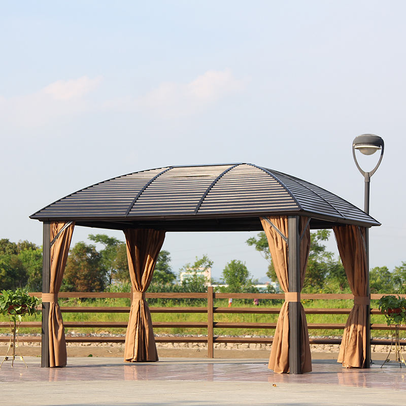 Aluminium Gazebo Outdoor Garden Gazebos Morden Solid Roof Party Galvanized Round Metal Roof Luxury Aluminium Hardtop