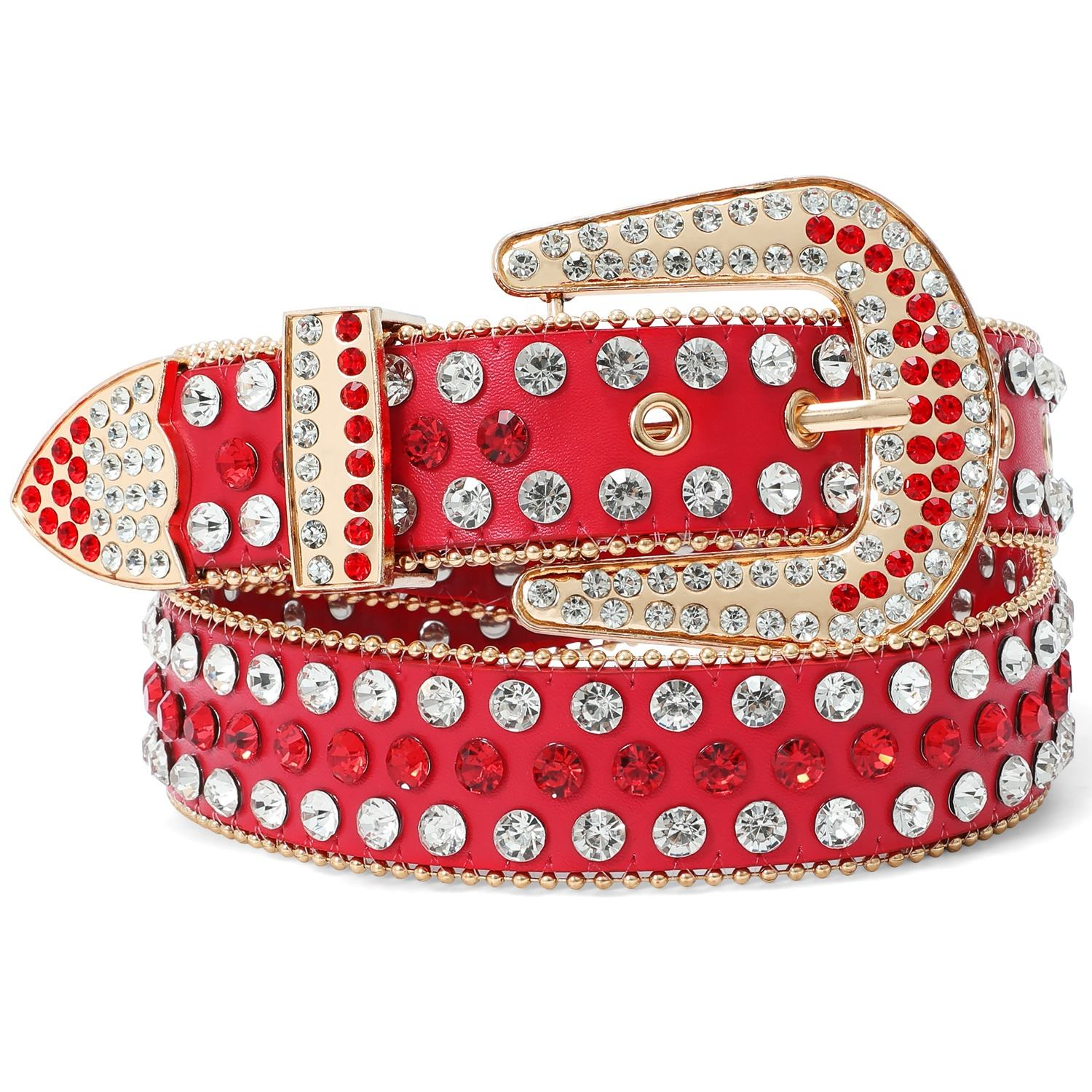 In Stock Shiny Rhinestone Studded Women Men Unisex Belt Diamond Western Belt Fancy Stylish Fashion Designer Belt