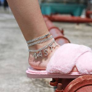 Women Letter NASTY Crystal Ankle Bracelet Bohemian Silver Color Gold Foot Beach Party Club Anklet Fashion Barefoot Chain N206256