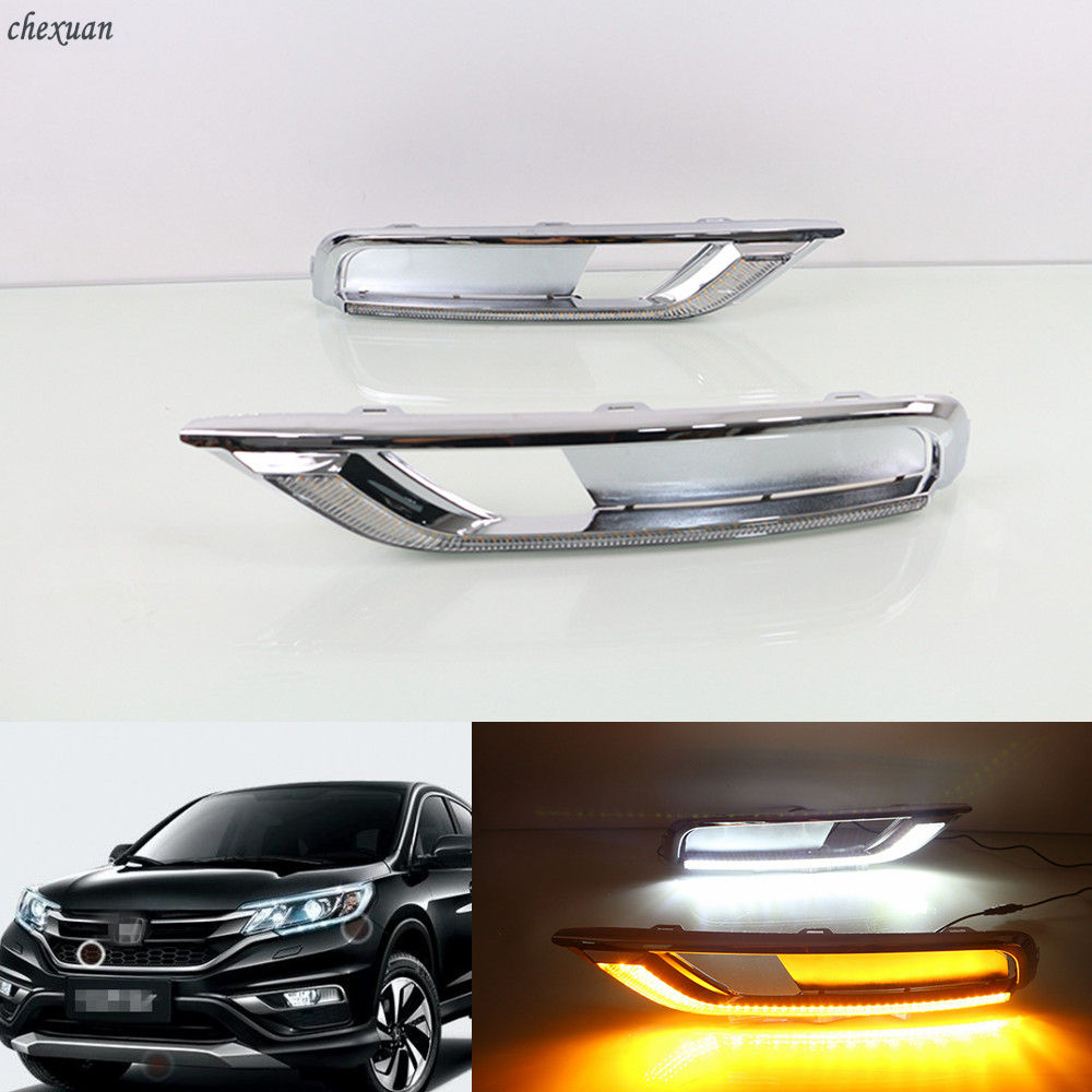 For Honda CRV CR-V 2015 2016 Turn Yellow Signal Style Relay 12V Car LED DRL Daytime Running Lights Accessories