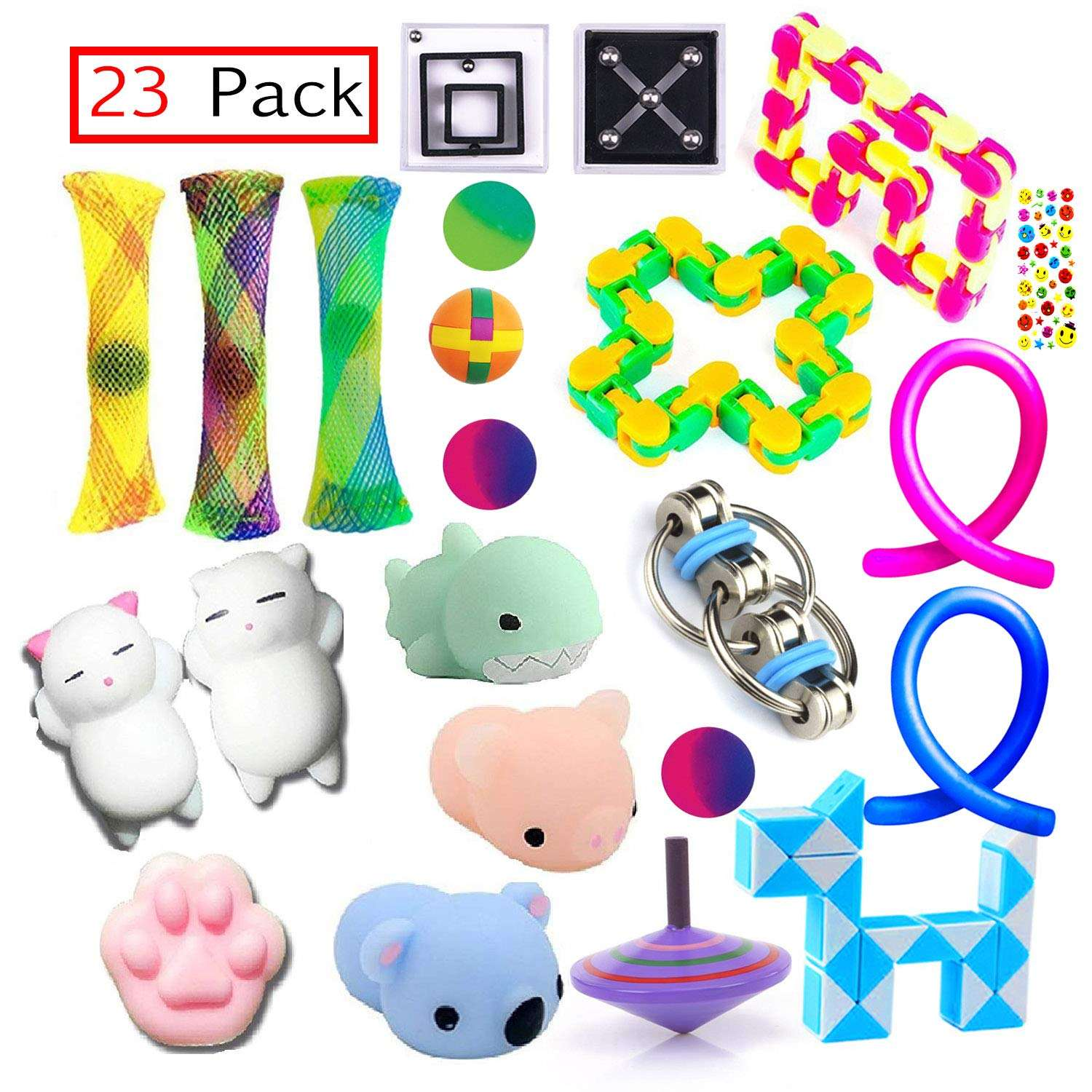 23 pack Bundle Sensory Fidget Toys Set-Bike Chain,Marble Fidget Toys,Squeeze a Bean Soybeans