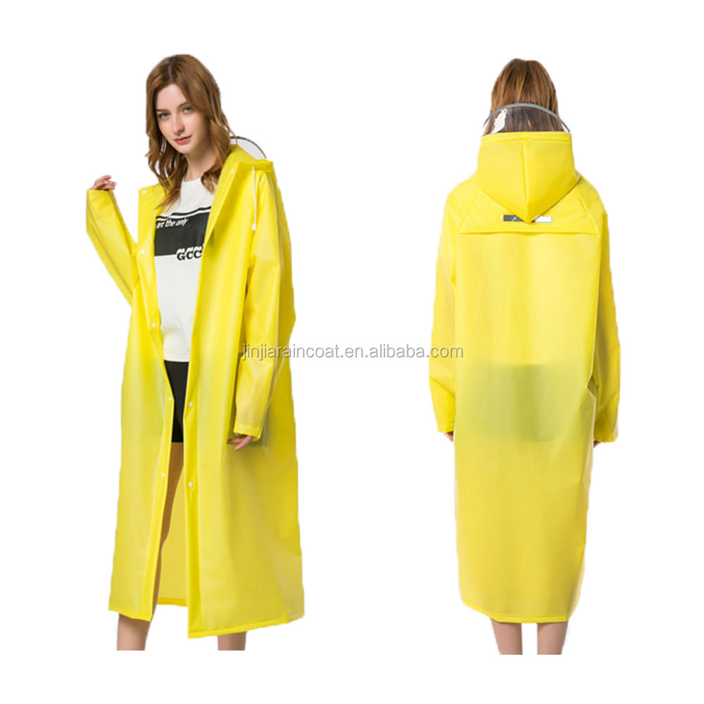 PVC EVA Long Raincoat Thick Men Rainwear Waterproof Hike Unisex Women Rain coat With Transparent Brim