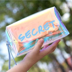 Transparent Laser Toiletry Bag Cosmetic Tpu Rainbow Holo Customized Make Up Clear Holographic Travel Makeup Bags Pouch
