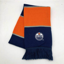 2019 hot sale fashion Wholesale factory custom embriodery letters knitted logo orange and navy  football scarf