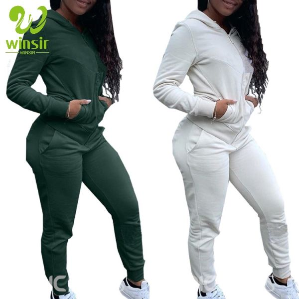 wholesales cheap plain solid green sportswear apparel women's two pieces running wear hoodie and sweat joggers suits set