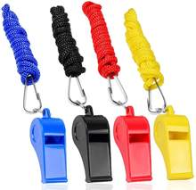 A03 4 Colors Black Blue Yellow Red Plastic Whistles With Lanyard Set For Coach Referee Sports Match Survival Emergency