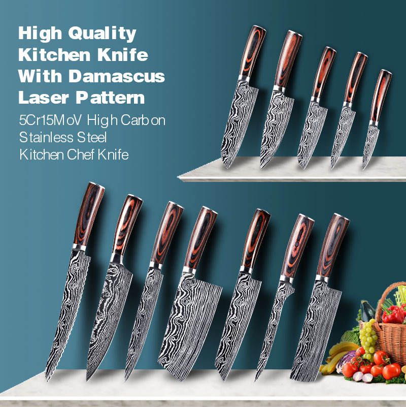 KONOLL Best Quality Kitchen Chef Knife Set 8 inch Japanese 5CR15MOV High Carbon Steel Damascus Laser Pattern Slicing S Too